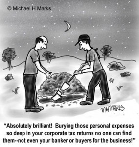 be careful about adding too many personal expenses in business.